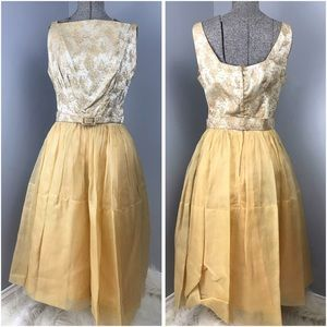 Vintage Gold Champagne A-Line Dress with Belt 1950